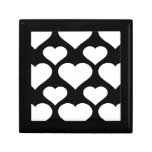 Heart 1 Black and White Trinket Boxes