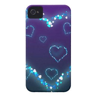 heart-28 DARK BLUE PURPLE FANTASY HEARTS GLITTER iPhone 4 Cover