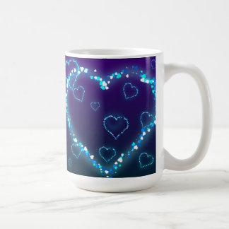heart-28 DARK BLUE PURPLE FANTASY HEARTS GLITTER Coffee Mug