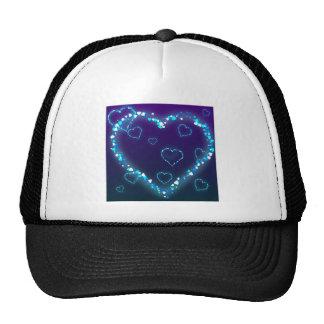 heart-28 DARK BLUE PURPLE FANTASY HEARTS GLITTER Trucker Hat