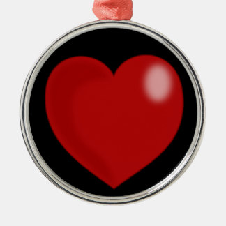 heart-297249  heart love red glossy shiny  CHUBBY Round Metal Christmas Ornament