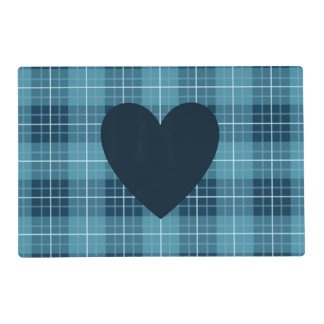 Heart (2Way) on Plaid Blues Placemat