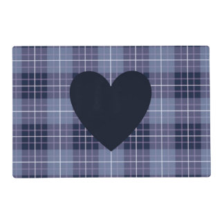 Heart (2Way) on Plaid Blues & Purples Placemat