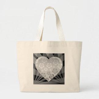heart-6 BLACK WHITE GREY GRAY FLOWERS HEART EMO H Large Tote Bag
