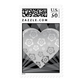 heart-6 BLACK WHITE GREY GRAY FLOWERS HEART EMO H Postage