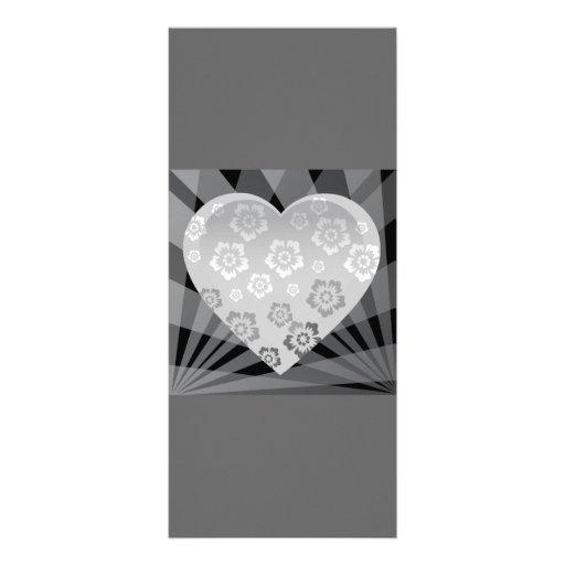 heart-6 BLACK WHITE GREY GRAY FLOWERS HEART EMO H Rack Cards