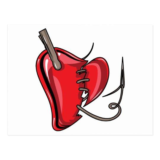 heart-9Red Heart Broken Torn Sew Love Hearts Postcard