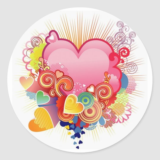Heart abstract classic round sticker