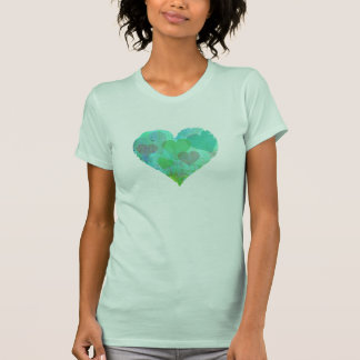 HEART ABSTRACT GREEN DESIGN T SHIRT cute abstract