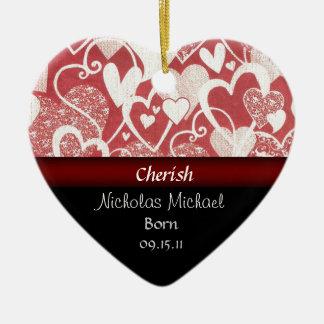 Heart Adoption Announcement Keepsake Double-Sided Heart Ceramic Christmas Ornament