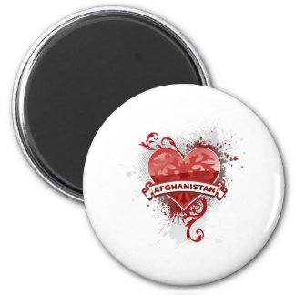 Heart Afghanistan 2 Inch Round Magnet
