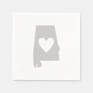 Heart Alabama state silhouette Disposable Napkins