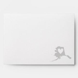 Heart Alaska state silhouette Envelope