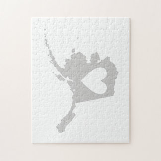 Heart Alaska state silhouette Puzzle