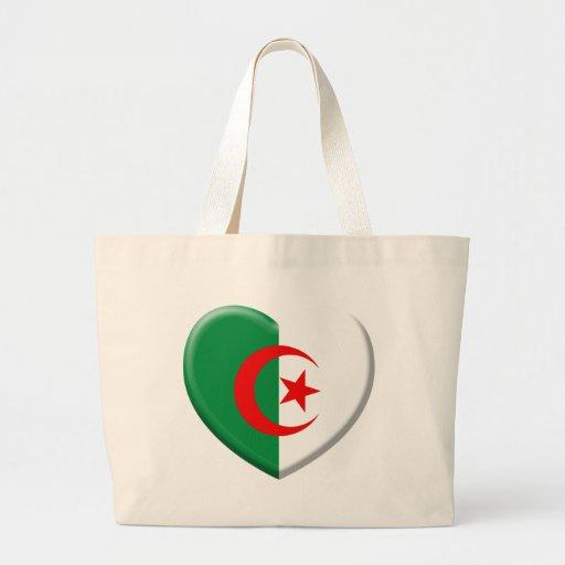 Heart Algérie flag coils Tote Bags
