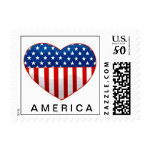 HEART AMERICAN FLAG STAMP