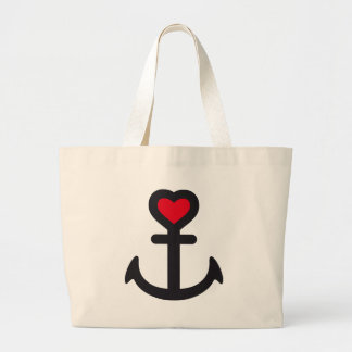 heart anchor large tote bag