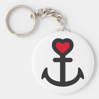 heart anchor llavero redondo tipo pin