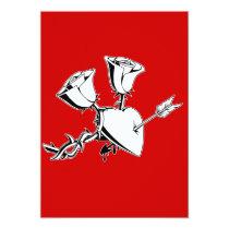 artsprojekt, heart, rose, flower, thorn, black, white, love, Convite com design gráfico personalizado