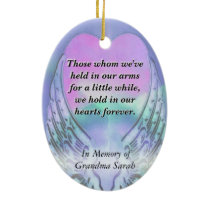 Heart and Angel Wings Memorial Ceramic Ornament
