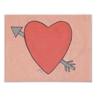 Heart And Arrow Valentine By Julia Hanna Poster