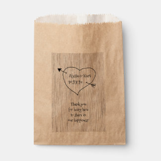 Heart and Arrow Wedding Message Favor Favor Bag