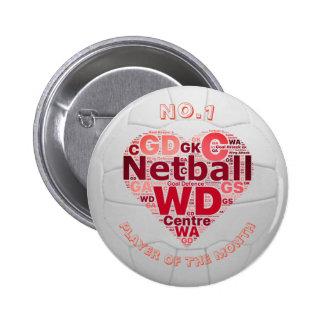 Heart and Ball Love Netball Player Reward Button