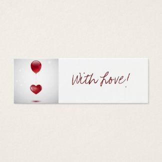 Heart and balloon bookmarker mini business card