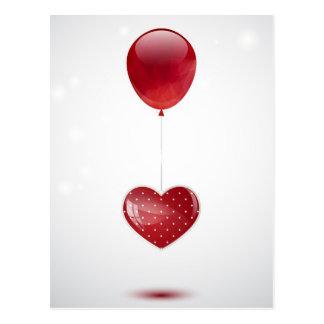Heart and balloon postcard