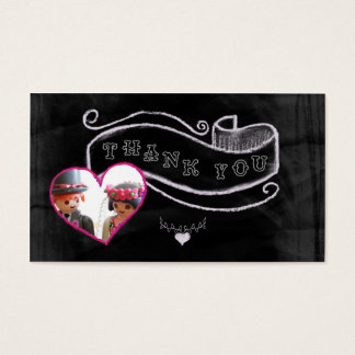 Heart and banner thank you business card