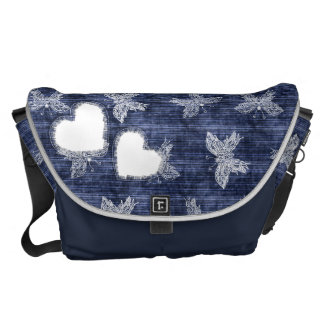 Heart and Butterflies Denim Torn  Messenger bags