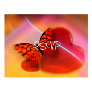 Heart and Butterfly Wedding Invite RSVP with Photo Postcard