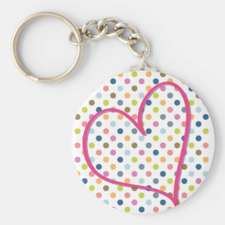 Heart and Colorful Dots Basic Round Button Keychain