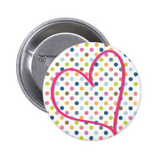 Heart and Colorful Dots Pins