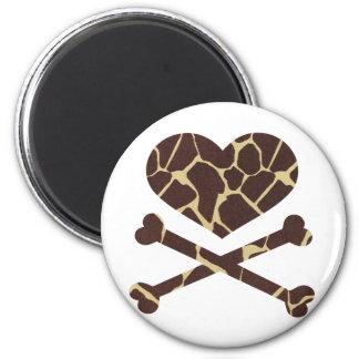 heart and cross bones giraffe 2 inch round magnet