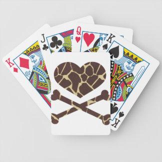 heart and cross bones giraffe bicycle playing cards