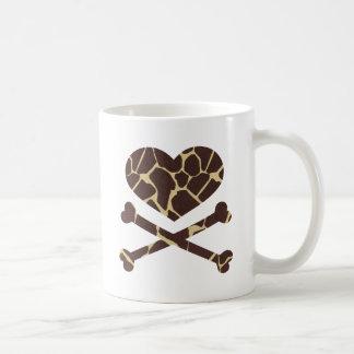 heart and cross bones giraffe coffee mug