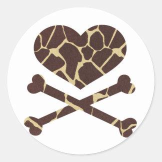 heart and cross bones giraffe sticker