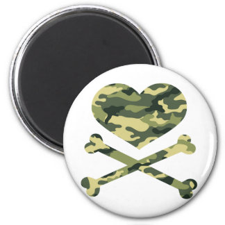 heart and cross bones light camo 2 inch round magnet