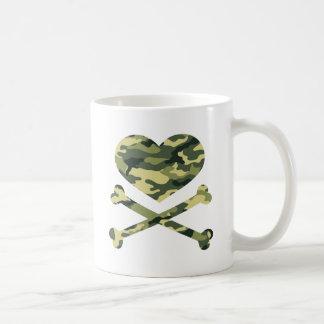 heart and cross bones light camo coffee mug