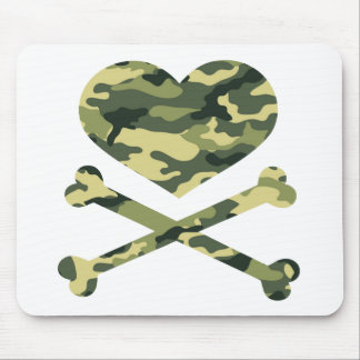 heart and cross bones light camo mouse pad