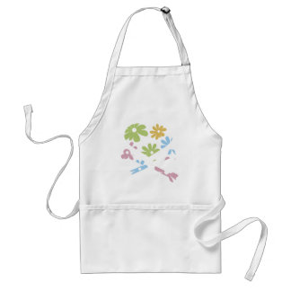 heart and cross bones pastel flowers apron