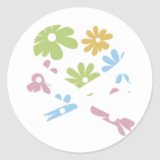 heart and cross bones pastel flowers classic round sticker