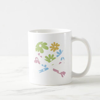 heart and cross bones pastel flowers coffee mug