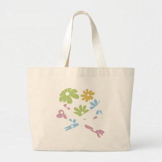 heart and cross bones pastel flowers large tote bag