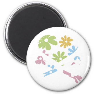 heart and cross bones pastel flowers 2 inch round magnet