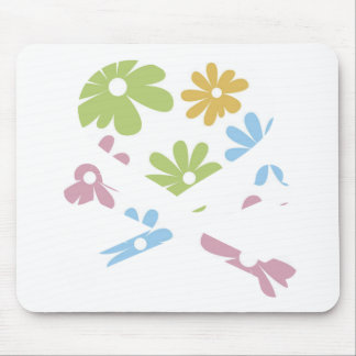 heart and cross bones pastel flowers mouse pad