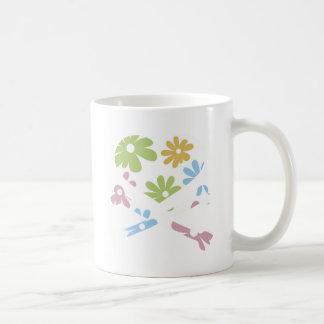 heart and cross bones pastel flowers mugs