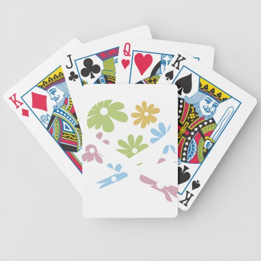 heart and cross bones pastel flowers bicycle playing cards