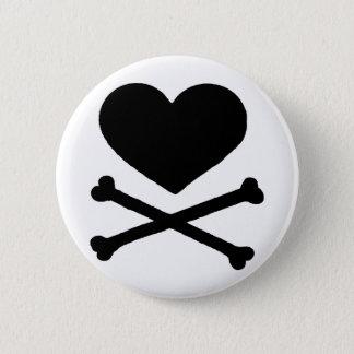 Heart and Cross Bones Pinback Button